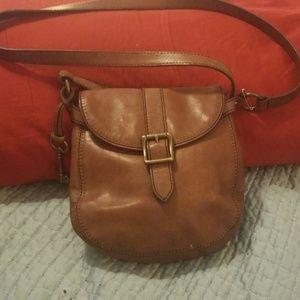 Fossil Crossbody Handbags Brown Leather